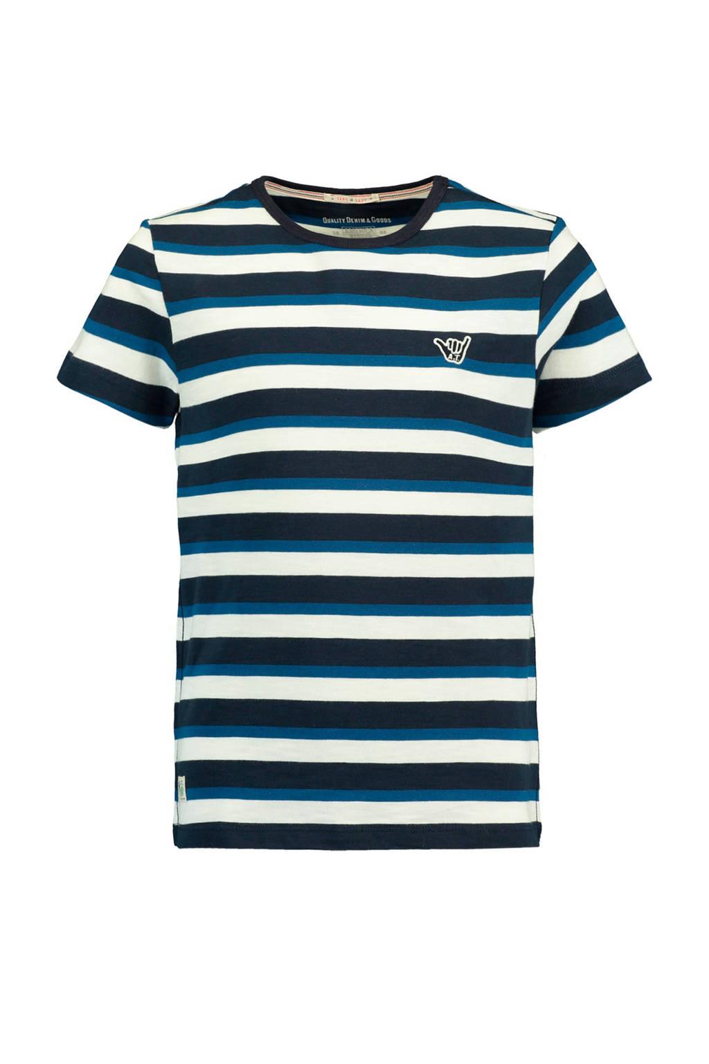 America Today Junior gestreept T-shirt Evan blauw, Donkerblauw