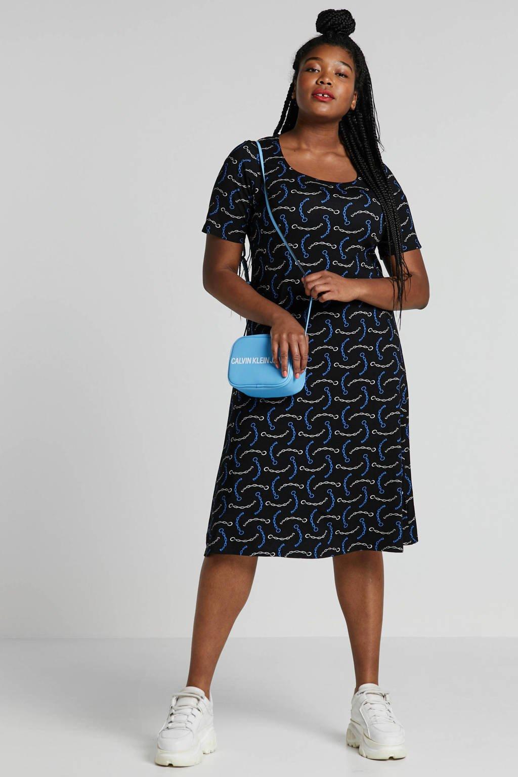 PONT NEUF jurk met kettingprint, Zwart/blauw