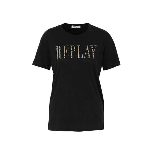 REPLAY glitter T-shirt met logo zwart