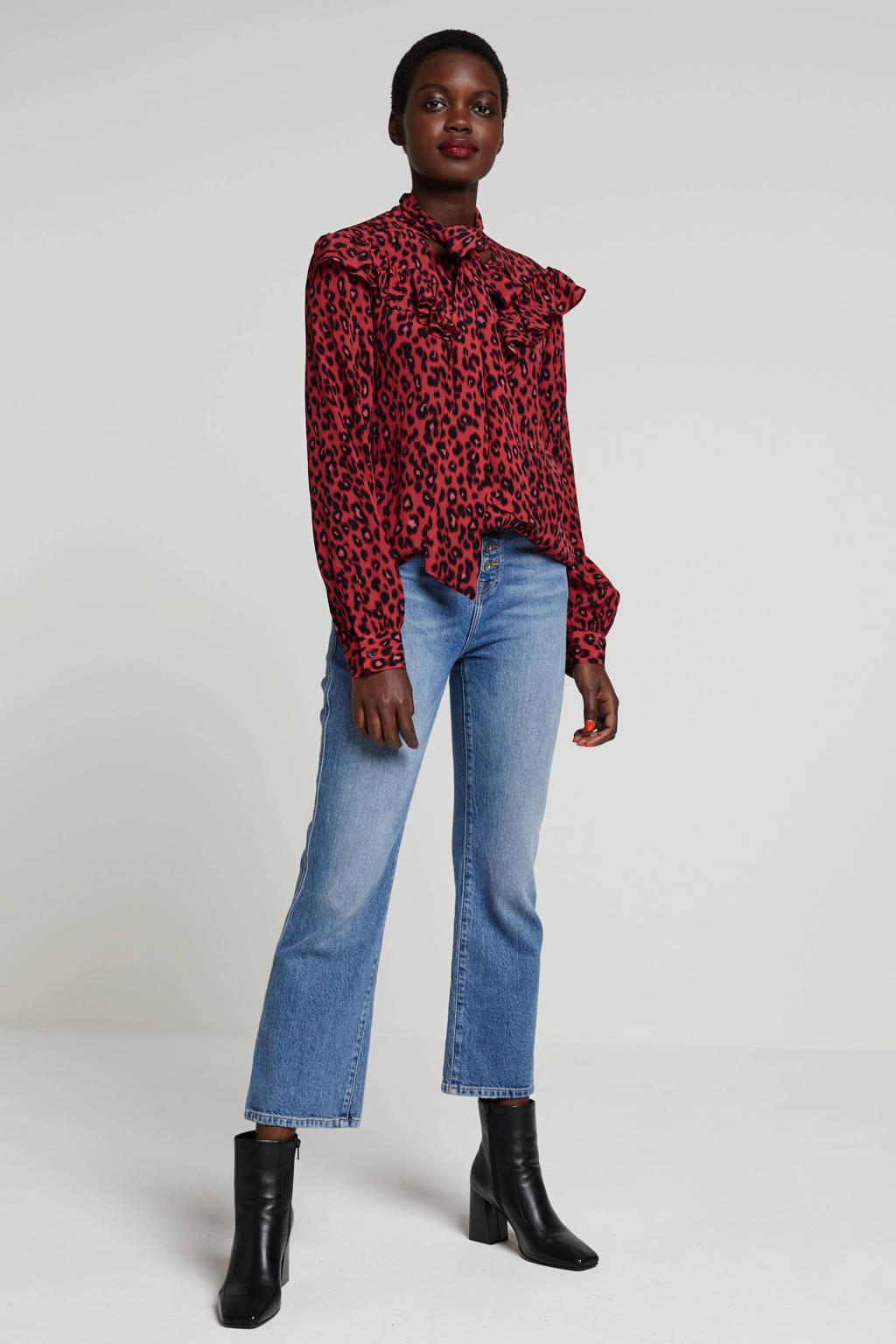 REPLAY blouse met panterprint en volant rood/zwart, Rood/zwart