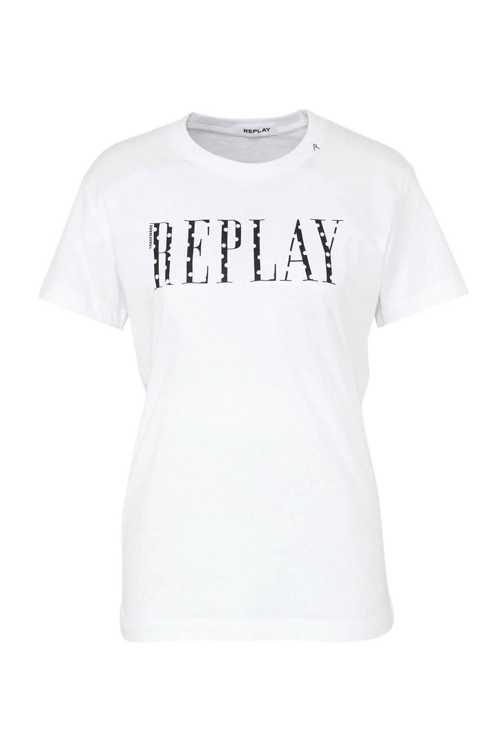 REPLAY glitter T-shirt met logo wit/zwart, Wit/zwart