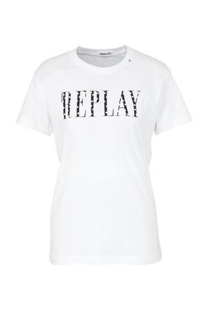 glitter T-shirt met logo wit/zwart
