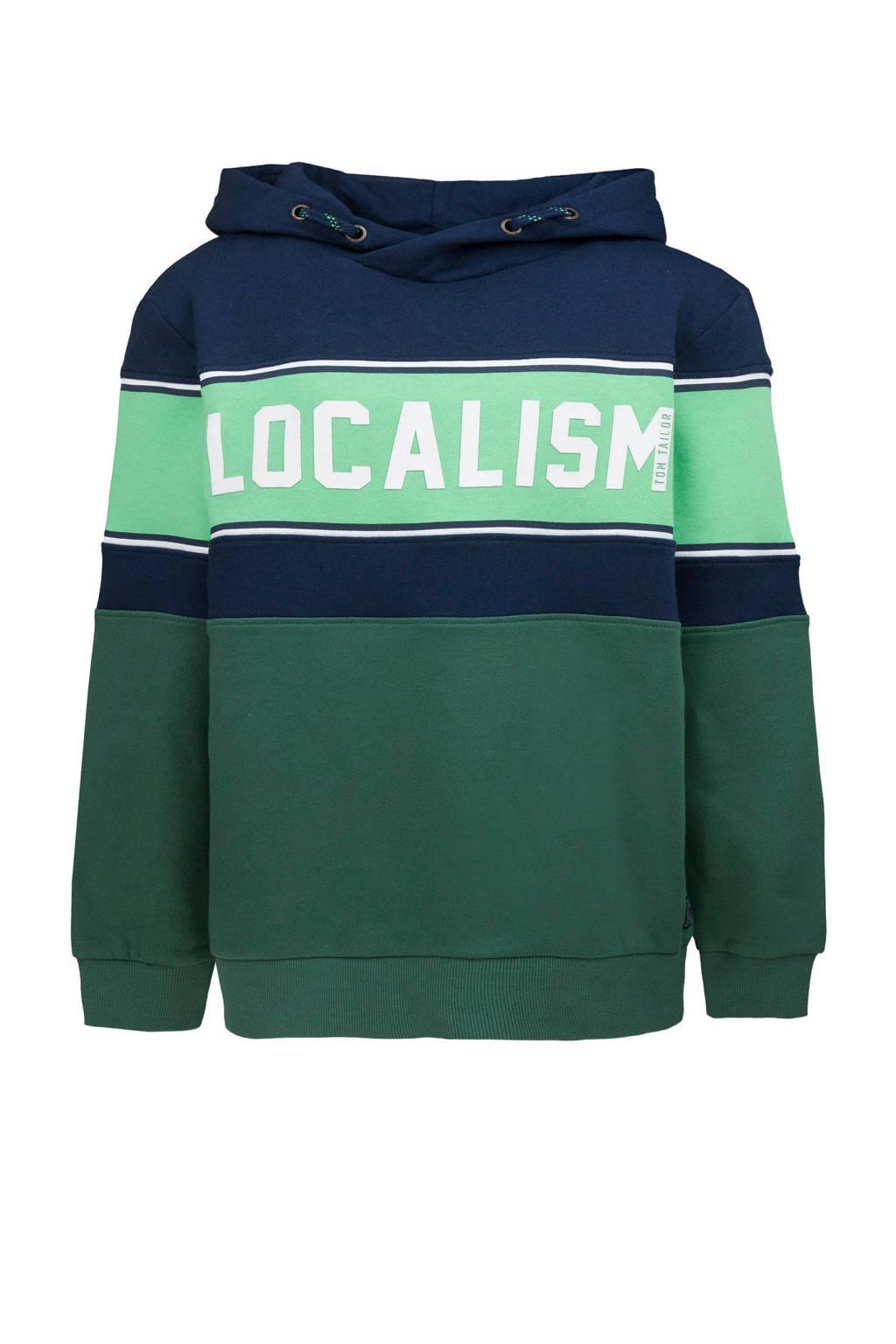 Tom Tailor hoodie met tekst groen/wit/donkerblauw, Groen/wit/donkerblauw