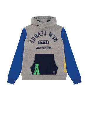 hoodie met tekst grijs melange/blauw