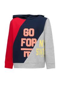 Tom Tailor hoodie met tekst donkerblauw/rood/lichtgrijs, Donkerblauw/rood/lichtgrijs