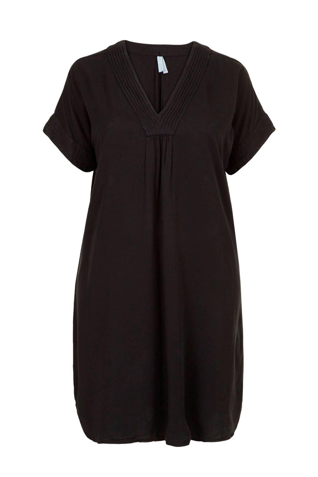 Miss Etam Plus jurk met plooien zwart, Zwart
