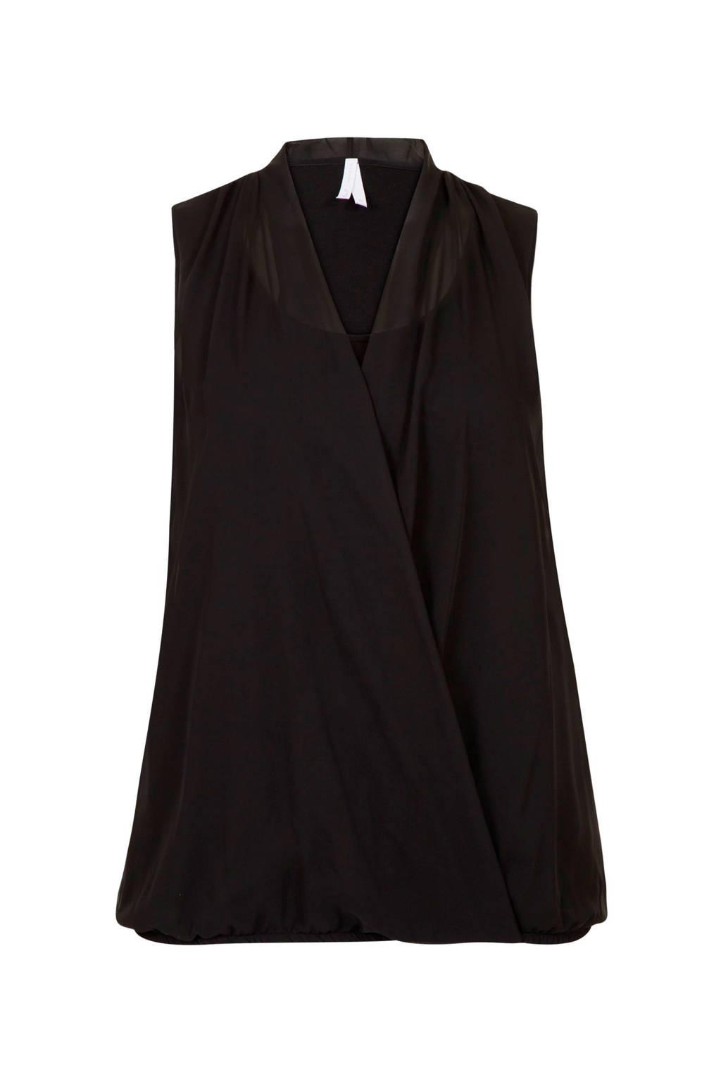 Miss Etam Plus overslag top zwart, Zwart