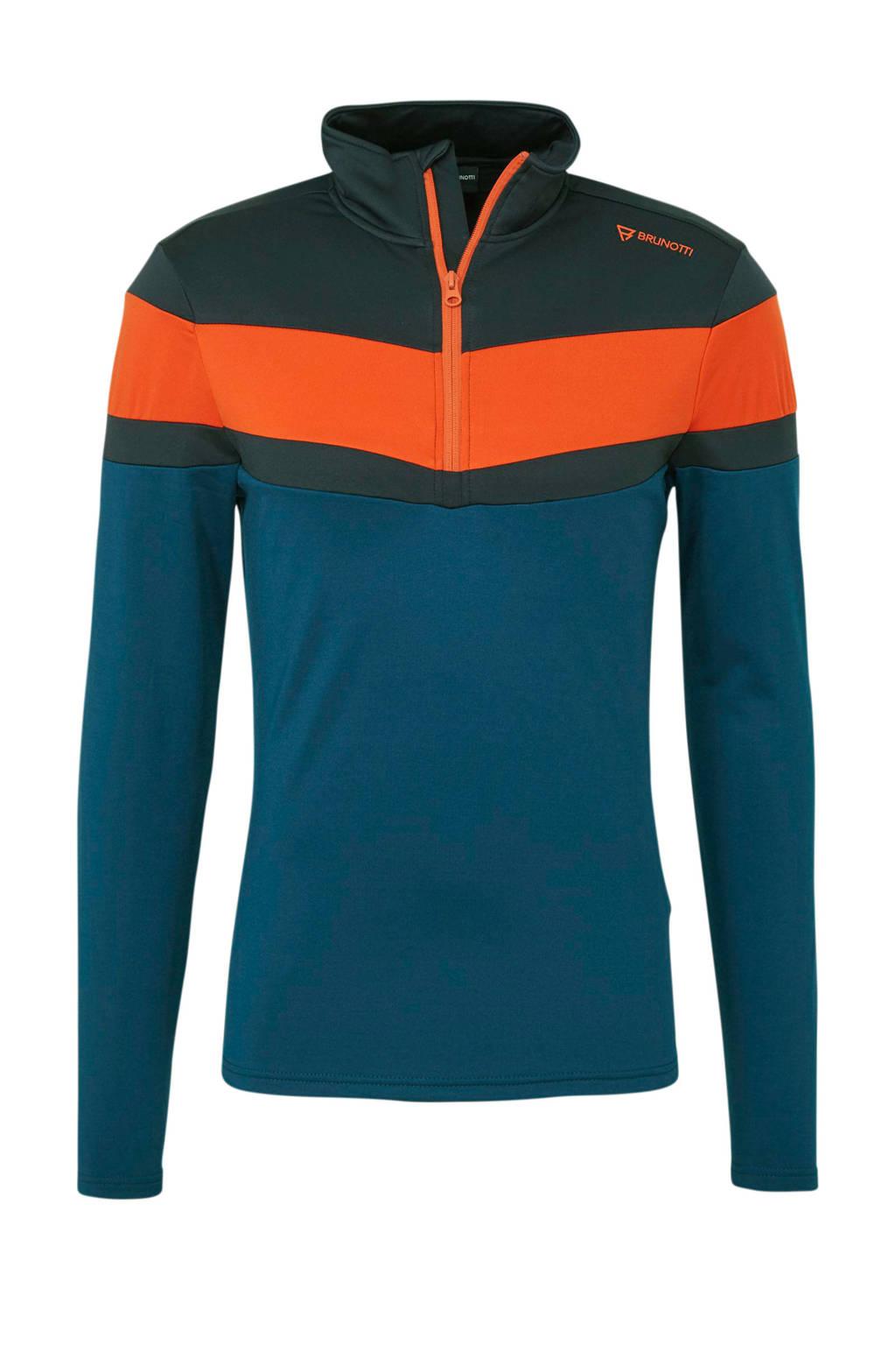 Brunotti fleece skipully Thornbill blauw, Blauw/Oranje/Zwart