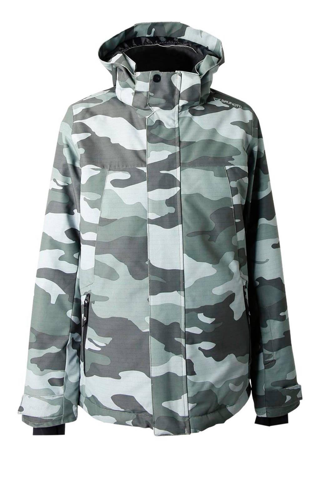 Brunotti ski-jack Gullies camouflageprint, Groen/grijs