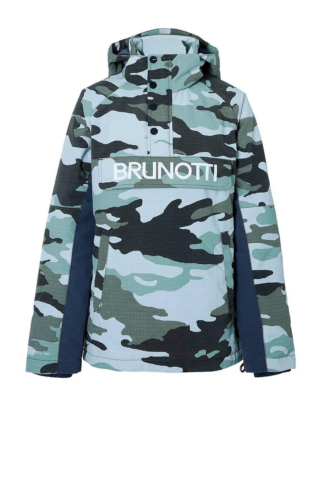 Brunotti ski-anorak Kingers groen camouflage, Groen/wit/grijs