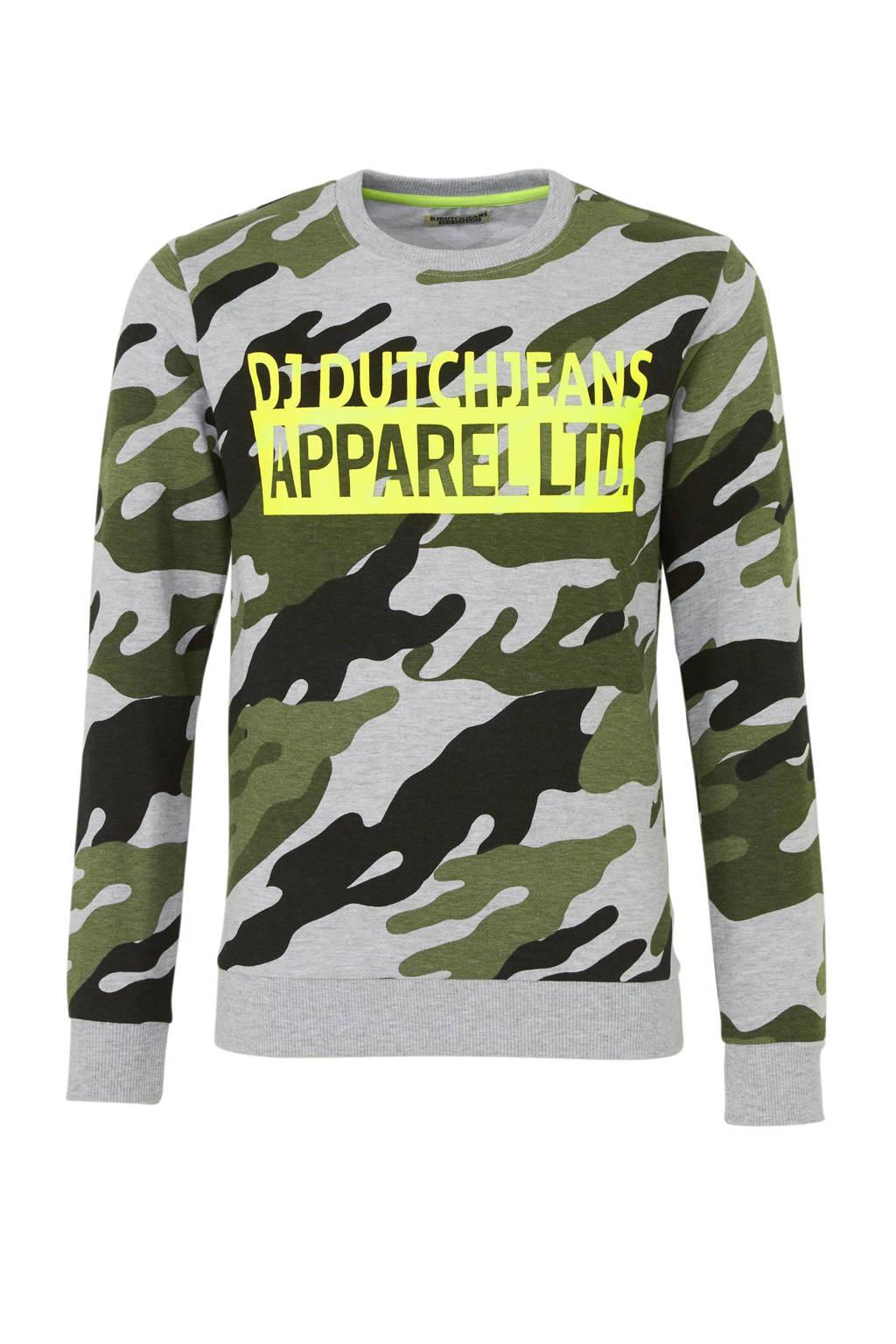 DJ Dutchjeans sweater met camouflageprint army groen/grijs, Army groen/grijs