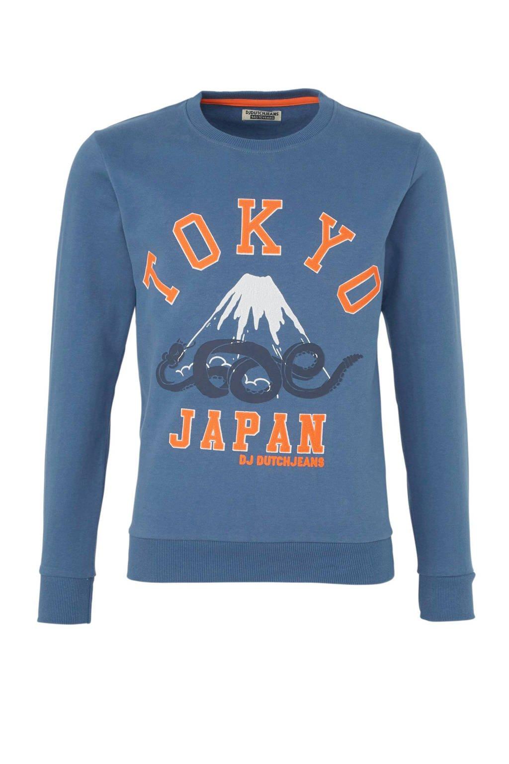 DJ Dutchjeans sweater met printopdruk vergrijsd blauw