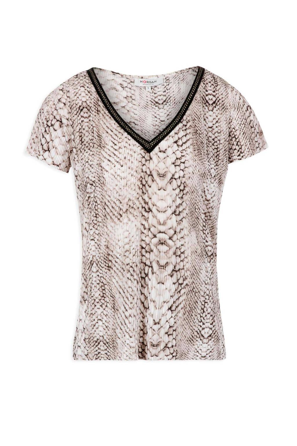 aea4fb2d105 Morgan T-shirt met slangenprint bruin | wehkamp