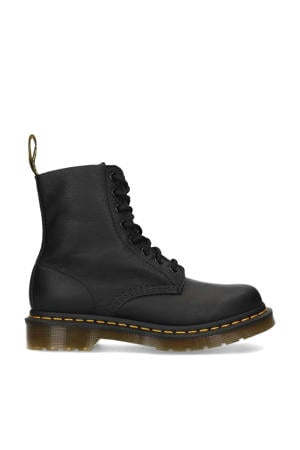 Virginia Black leren veterboots zwart