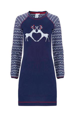 nachthemd met kerst print marine