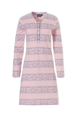 Deluxe nachthemd met all over print roze