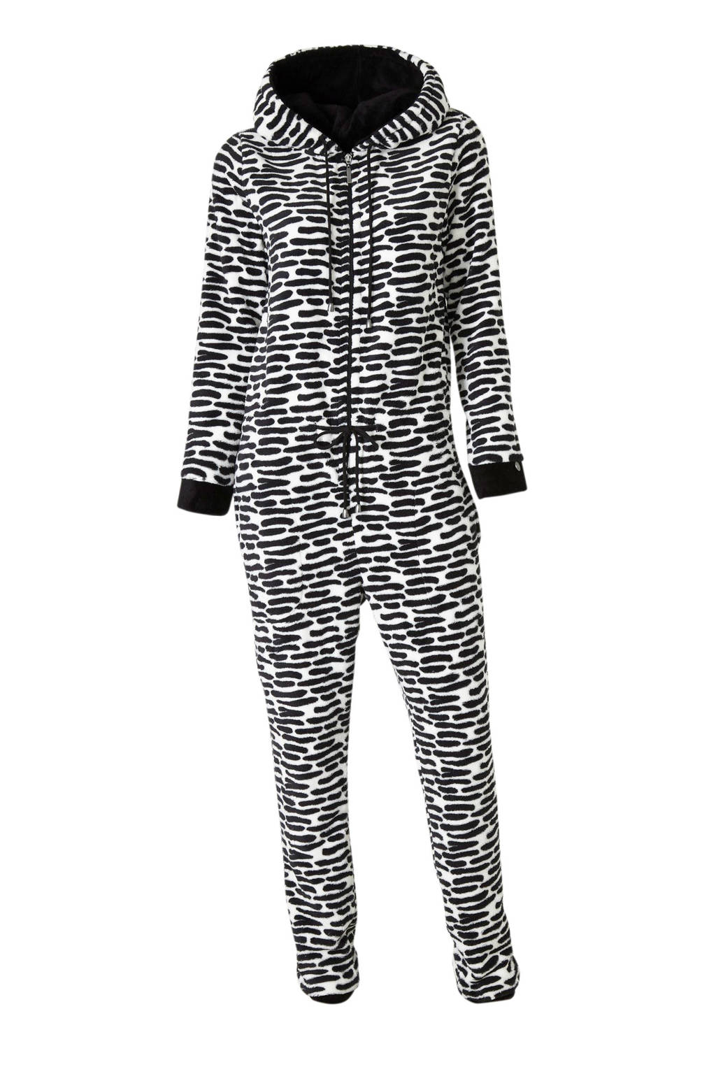 Pastunette fleece onesie met all over print zwart/wit, Zwart/wit