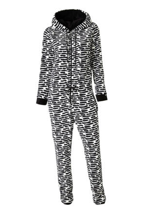 fleece onesie met all over print zwart/wit