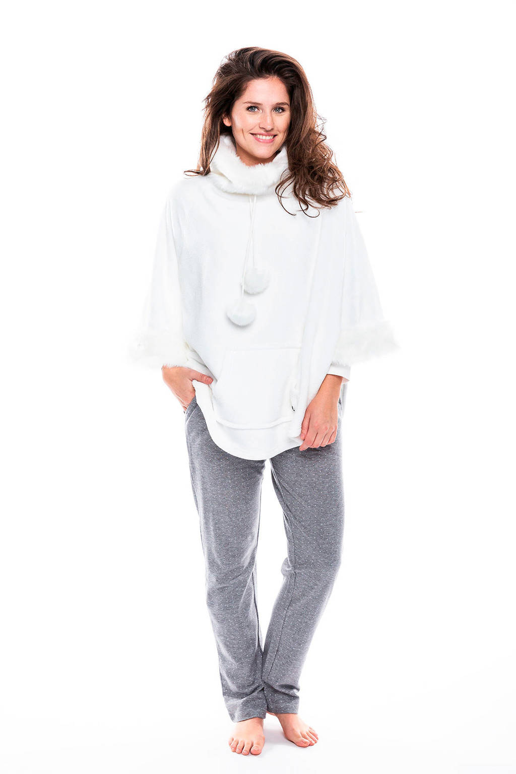 Pastunette Deluxe fleece loungetop met imitatiebont wit, Gebroken wit