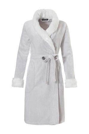 Deluxe fleece badjas met imitatiebont lichtgrijs