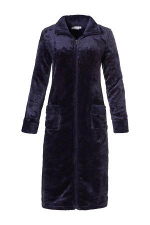 fleece badjas met ritssluiting donkerblauw