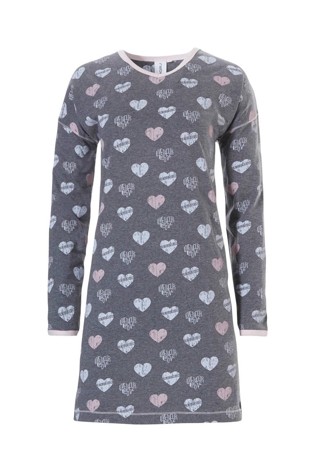 Rebelle nachthemd met all over print donkergrijs, Donkergrijs/roze/lichtblauw
