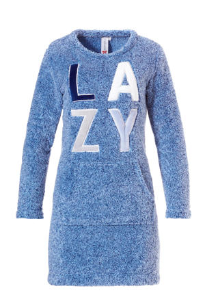 fleece loungejurk blauw