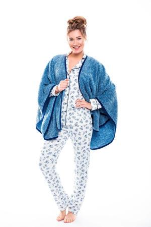 fleece cape blauw