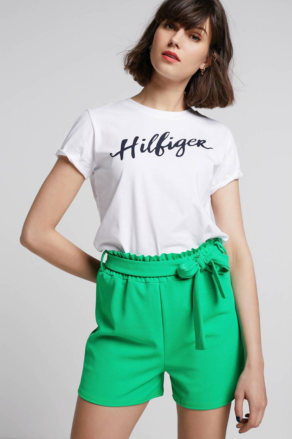 SisterS Point high waist straight fit short groen, Groen