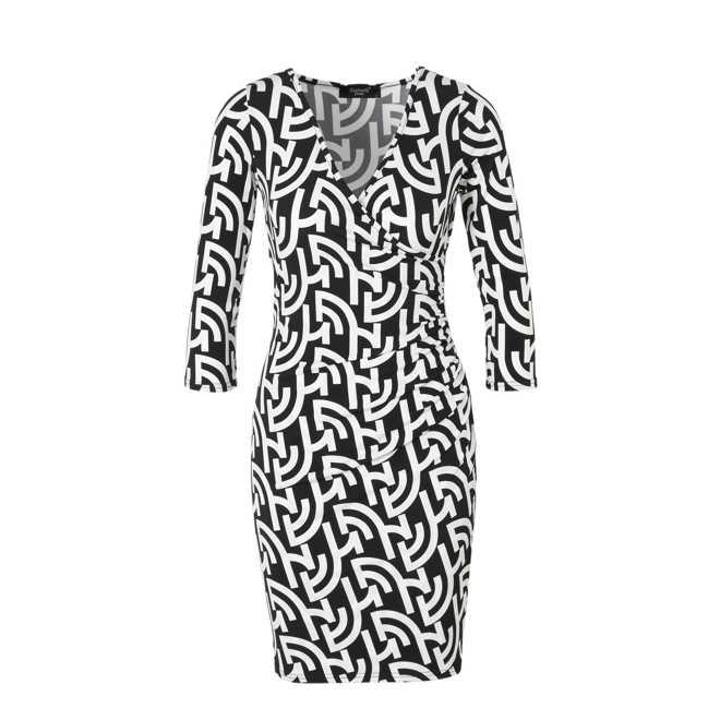 1764e44bb62033 SisterS Point. jurk met overslagdetail zwart wit