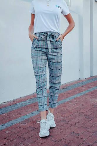 gestreepte high waist pantalon