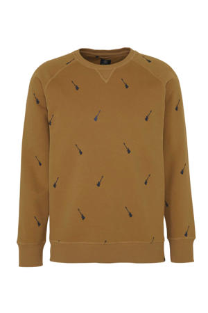 sweater met all over print camel/blauw
