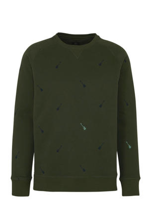 sweater met all over print groen