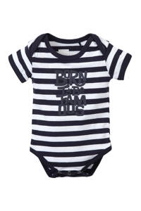 born to be famous. newborn baby romper, Wit/ marine