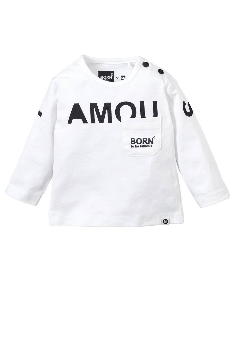 born to be famous. newborn baby longsleeve, Wit/donkerblauw
