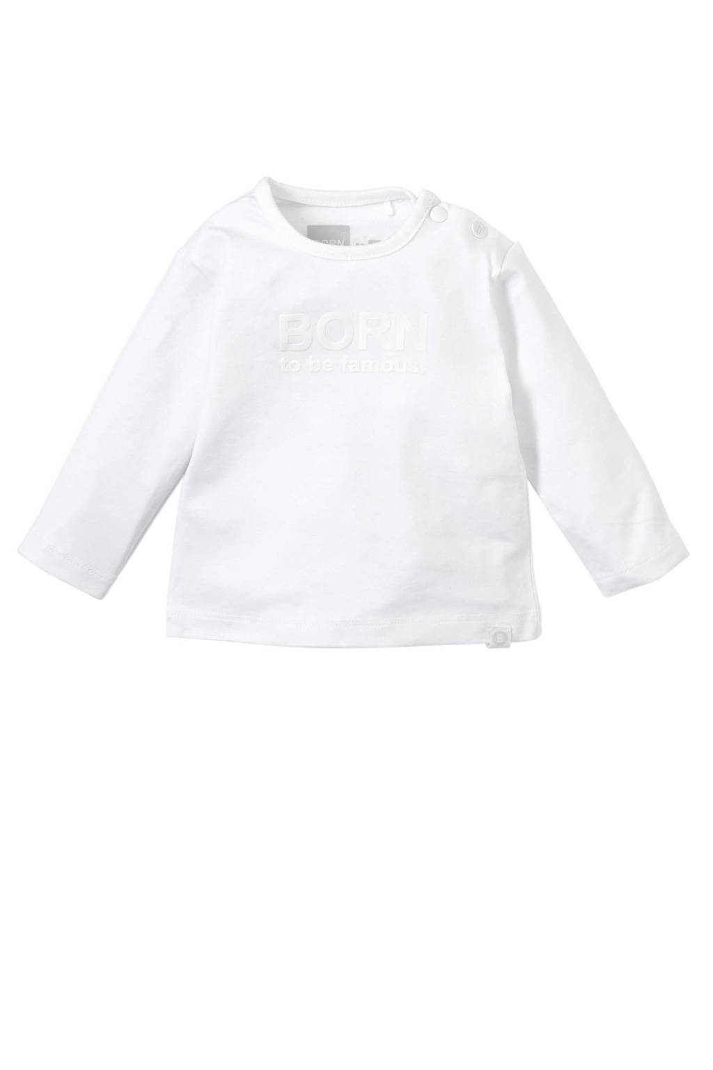 born to be famous. newborn baby longsleeve, Wit