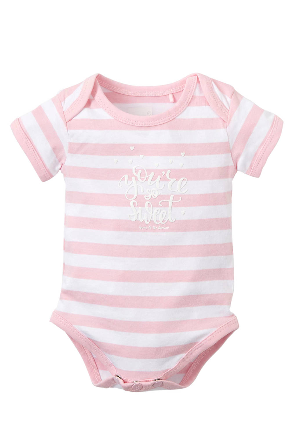 born to be famous. newborn baby romper, Roze/wit
