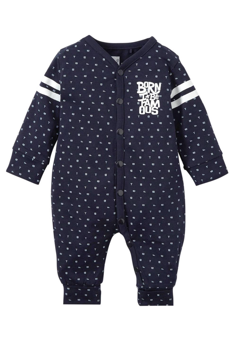 born to be famous. newborn baby boxpak met all over print blauw, Marine