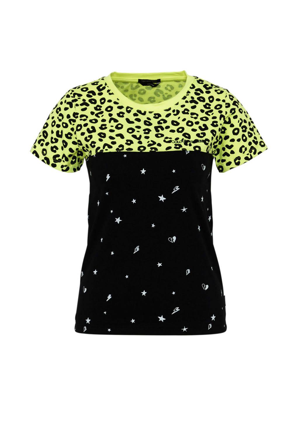 Colourful Rebel T-shirt met all over print zwart/groen/wit, Zwart/groen/wit