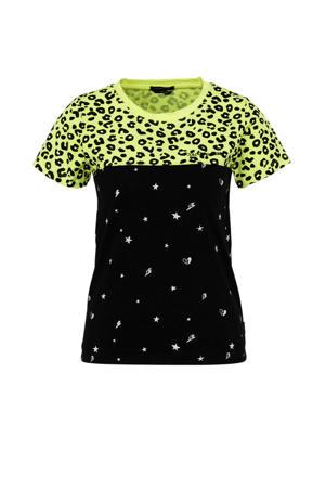 T-shirt met all over print zwart/groen/wit
