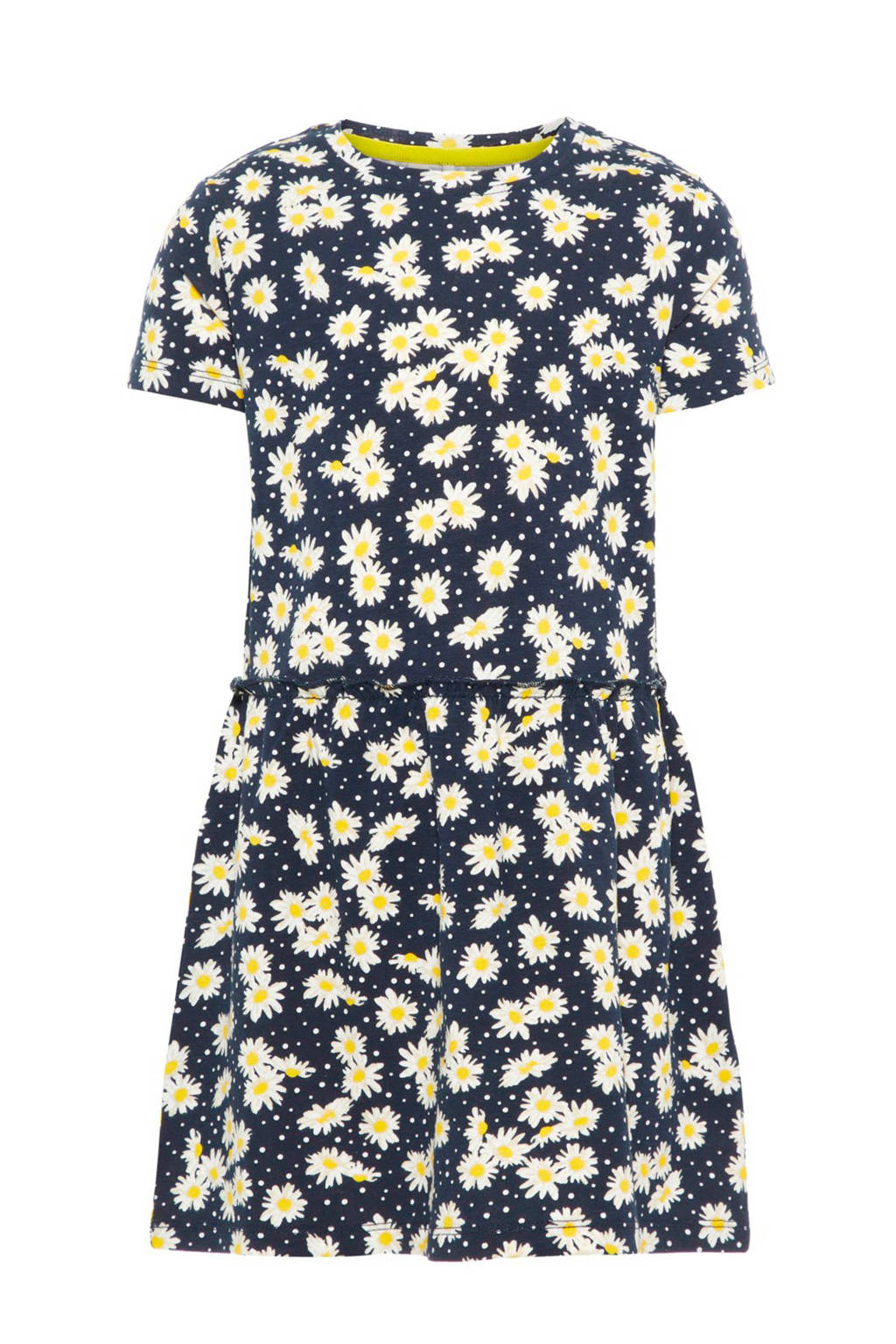 name it MINI jurk FAllon met madeliefjesprint donkerblauw, Donkerblauw/ wit/ geel