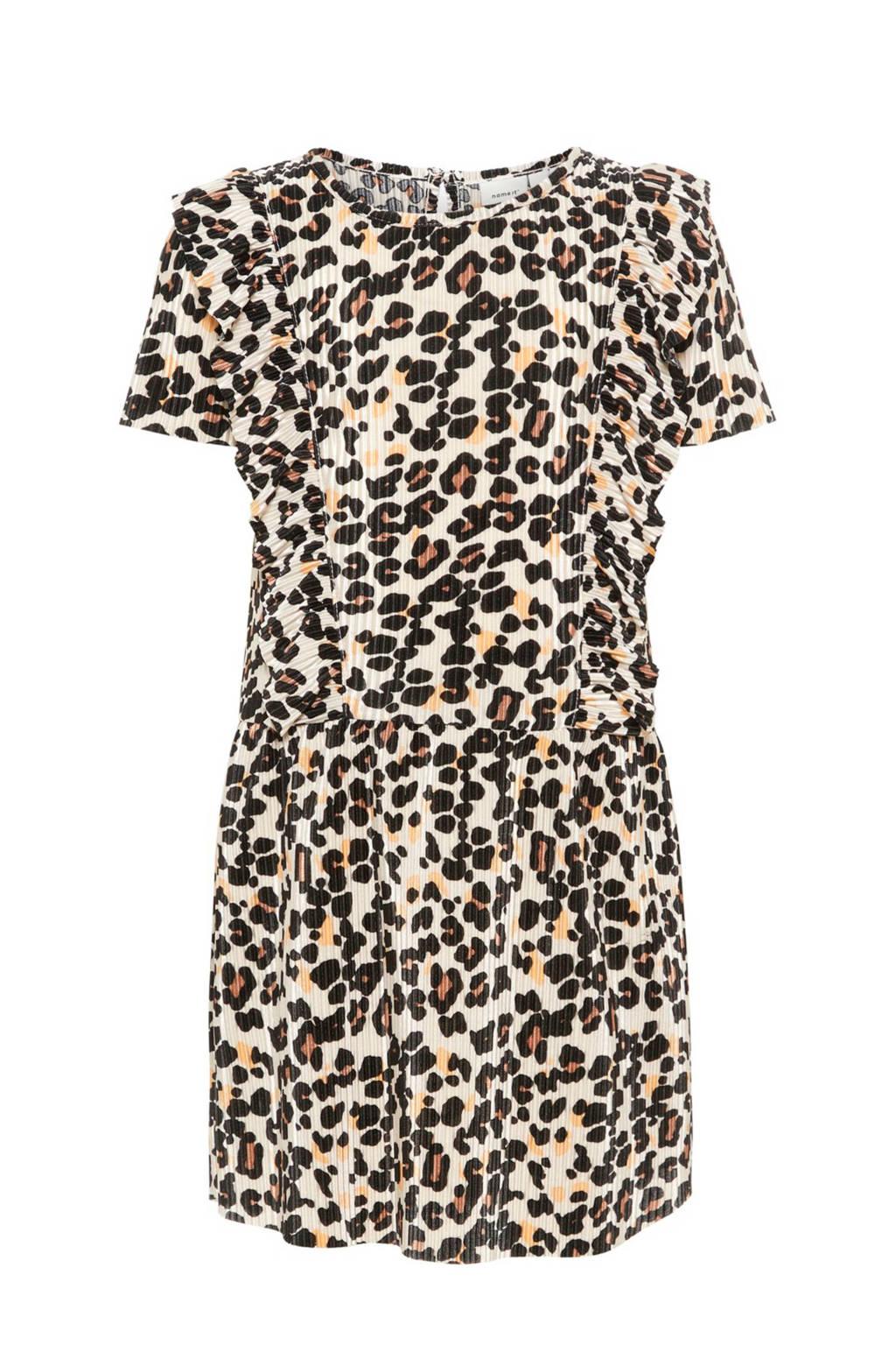 name it MINI jurk Fleo met panterprint, Creme/ zand/ zwart