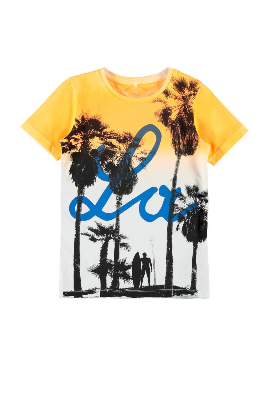 name it T-shirt Jarius met korte  mouwen geel, Geel/ wit/ zwart