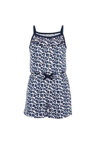 jumpsuit met all over print donkerblauw/wit
