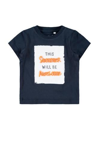 BABY newborn baby T-shirt Jeco met tekst blauw