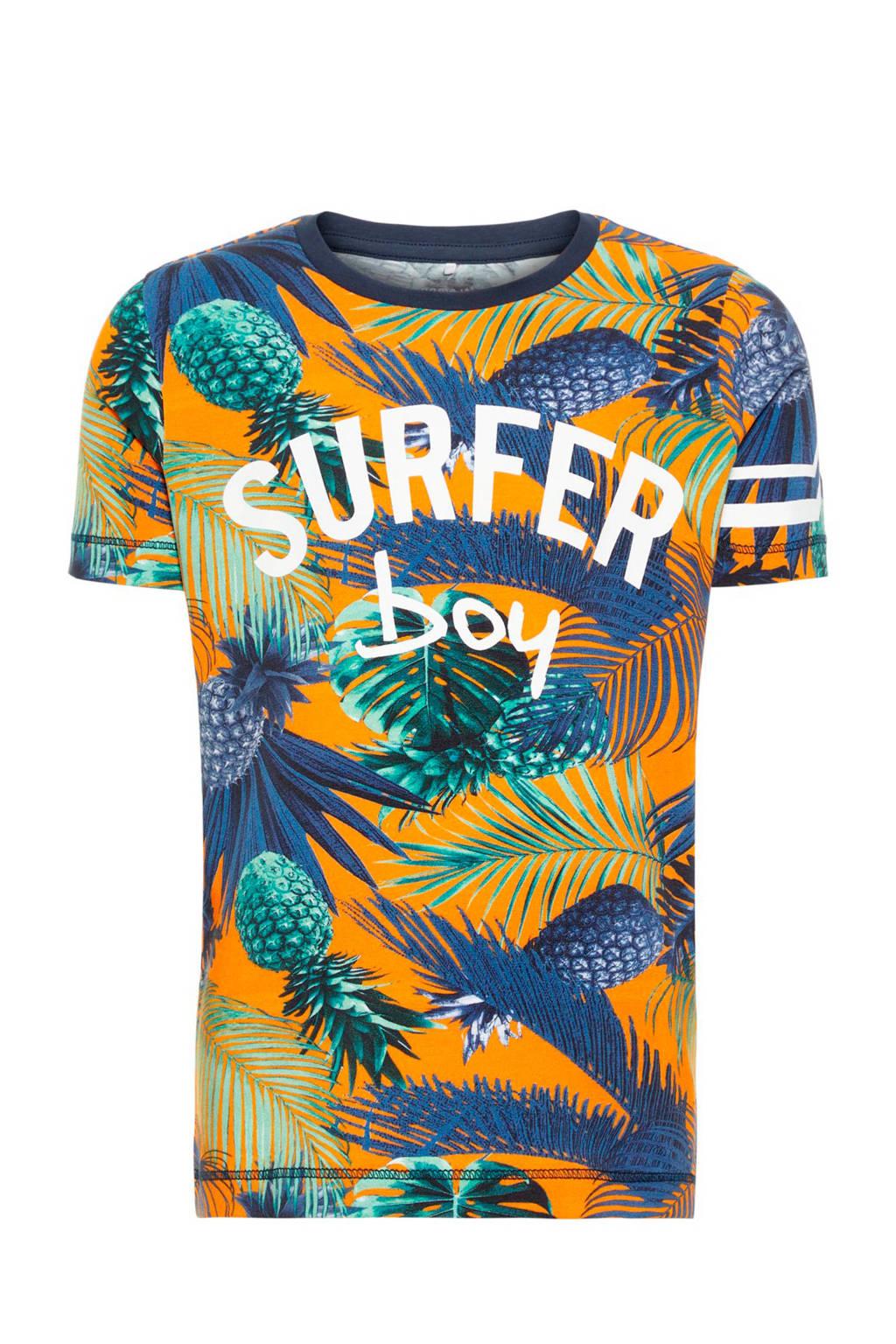 name it MINI T-shirt Jukka met korte mouwen oranje, Oranje/ blauw/ wit