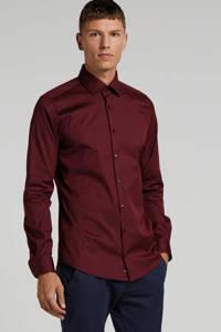 Strellson slim fit overhemd donkerrood, Donkerrood