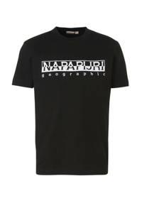 Napapijri T-shirt met logo en borduursels zwart/wit, Zwart/wit