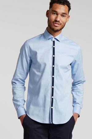 regular fit overhemd lichtblauw/donkerblauw