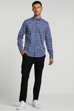 regular fit overhemd met all over print blauw/wit/lichtblauw